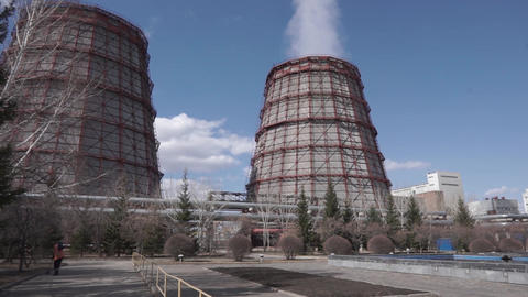 Power plant. General view of the combined heat and power... Stock Video Footage