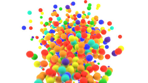 Multi-colored plastic balls falling in front of camera in slow motion Animation