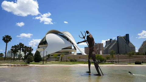 The City of Arts and Sciences, Operahouse with statue Footage