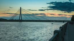 Summer sunset timelapse of suspension bridge in Riga Footage