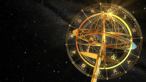 Armillary Sphere And Zodiac Signs. Black Background Animation