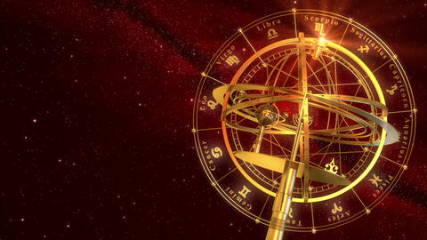 Armillary Sphere And Zodiac Signs. Red Background Animation