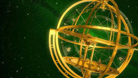 Armillary Sphere And Zodiac Signs. Green Background Animation