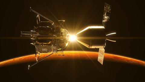 Undocking Of The Space Station In The Rays Of Sun Over Mars Animation