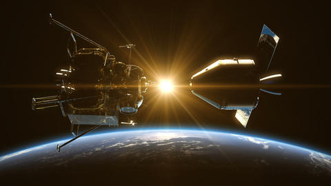 Undocking Of The Space Station In The Rays Of Sun Over Earth Animation