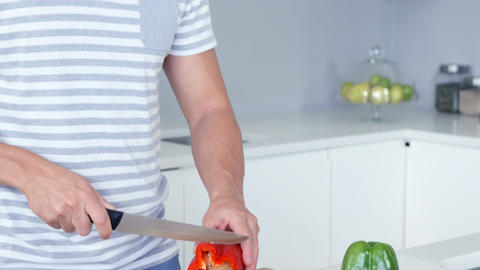 Man cutting vegetables Live Action