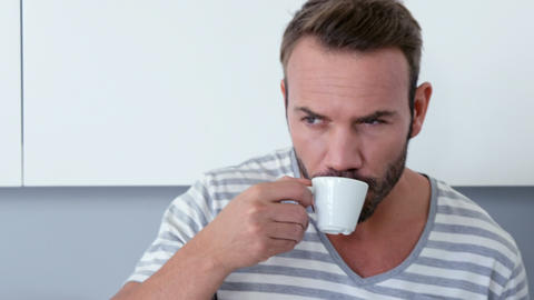 Man drinking an espresso Live Action