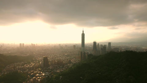 Inspiring Taipei Aerial Shot moving across Skyline in afternoon Sun Taiwan Footage