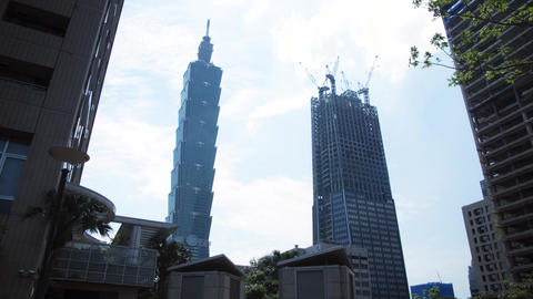 Taipei Downtown timelapse 101 building clouds and construction in Taiwan 影片素材