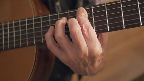 Old Retired Senior Man Hands Playing Guitar Closeup Stock Video Footage
