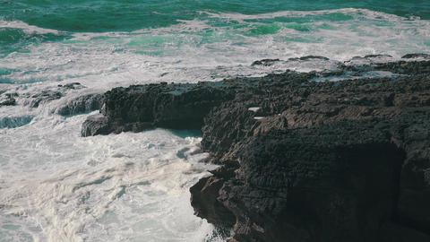 Ocean Waves Breaking on Rock Footage