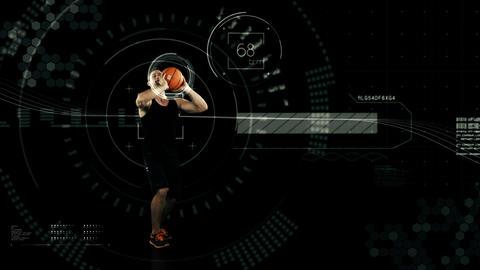 Athlete playing basketball against animated background Animation