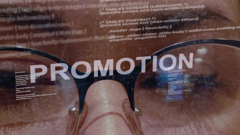 Promotion text on female software developer Footage