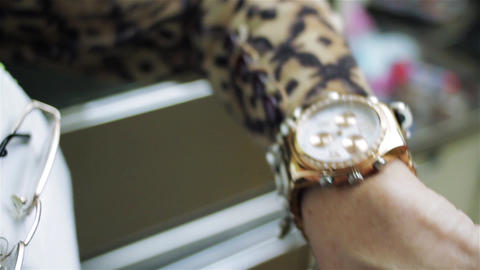 Female Hand Checking Time On Wristwatch Stock Video Footage