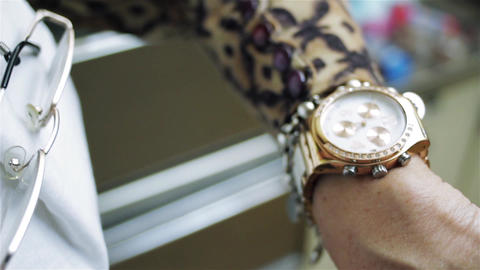Female Hand Checking Time On Wristwatch Live Action
