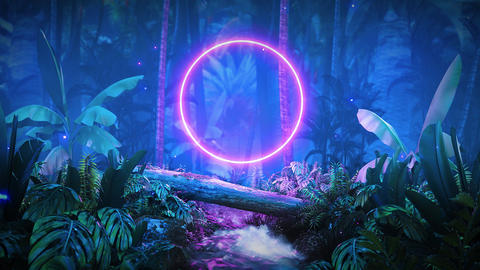 night jungle with glowing neon Animation