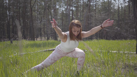 Portrait healthy beautiful woman doing yoga fitness stretching in the forest Footage