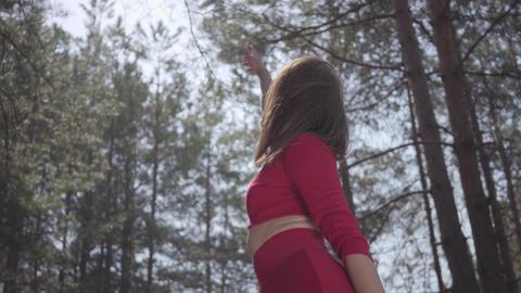 Portrait portrait graceful womans body in red dress in... Stock Video Footage