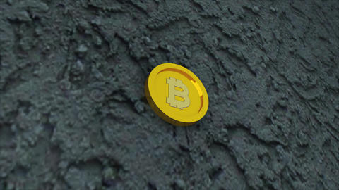 Bit coin is on concrete surface, it is symbol of electronic virtual money and Footage