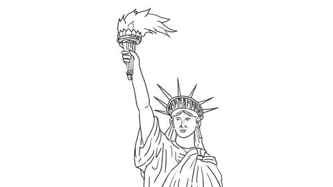 Statue of Liberty Flaming Torch Drawing 2D Animation, Stock Animation