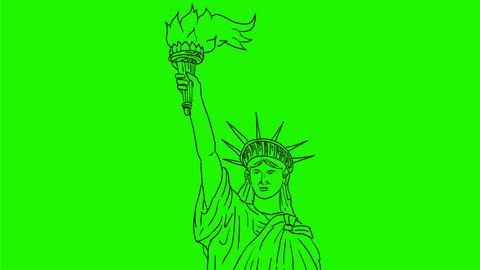 Statue of Liberty Flaming Torch Drawing 2D Animation Animation