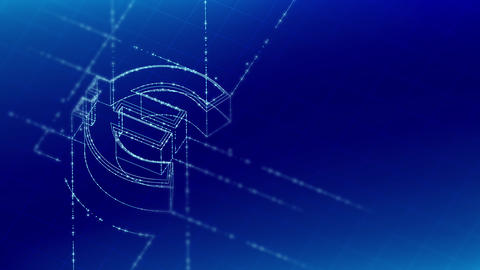 Currency EUR (European Euro) isometric symbol particle line lighting frame structure pattern Animation