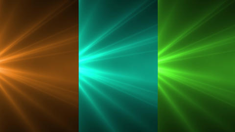 Orange, light blue and green light rays, burst on black background. Shinny magical flares, sunlight, Animation