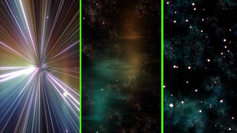 Journey in deep space concept, 3 different VERTICAL Video. Light speed, hyperjump, starburst, Animation