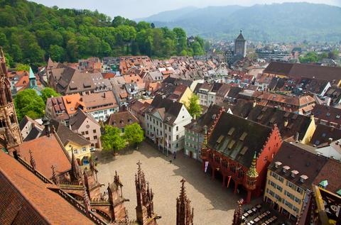 Buildings in Freiburg im Breisgau city, Germany Photo