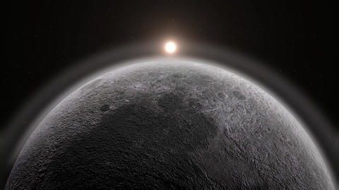 Moon and sun 3D rendering. Realistic luna, eclipse and rising sun from background Animation