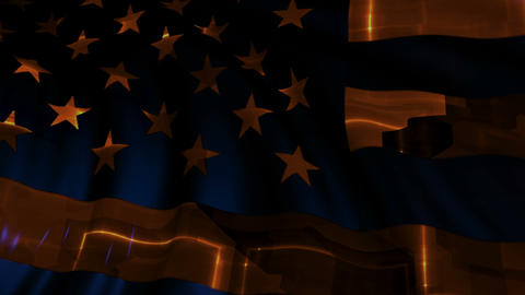 American flag made in cyber style in slow motion Animation