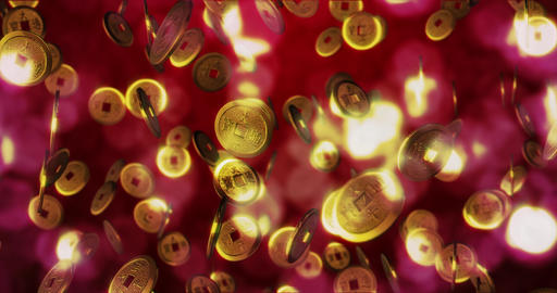 Golden Chinese coins. 3D rendering Archivo