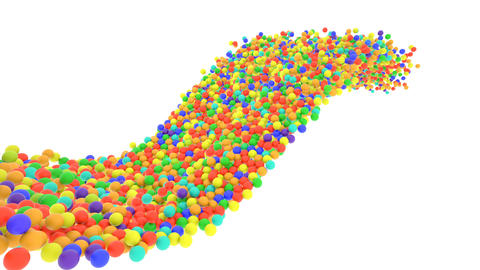 Multi-colored plastic balls flying in perspective in slow motion Animation