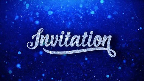 Invitation Blue Text Wishes Particles Greetings,... Stock Video Footage