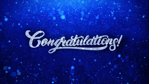 Congratulations Blue Text Wishes Particles Greetings, Invitation, Celebration Live Action
