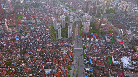 Aerial view of red houses. Residential neighborhood. Urban housing development from above. Top view. Footage
