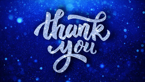 Thank You Blue Text Wishes Particles Greetings, Invitation, Celebration Live Action
