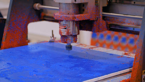 Milling machine during work with plastic material Live Action