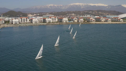 White sail boat floating in blue sea on cityscape background. Aerial view from drone yacht racing in Footage