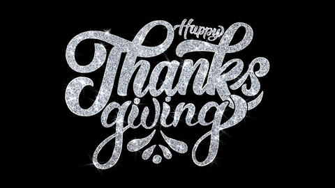 Happy ThanksGiving Blinking Text Wishes Particles Greetings, Invitation Live Action