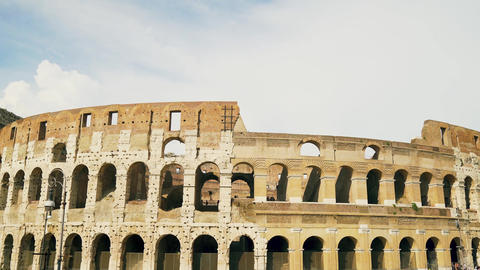 Old Ancient Roman Coliseum in Rome, Italy. Sunny day. Nobody. 4k Live Action