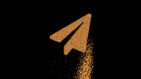 Symbol paper plane appears from crumbling sand. Then crumbles down. Alpha channel Premultiplied - Animation