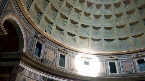 Rome Pantheon dome footage panning around the oculus showing the dome roof 4k Live Action