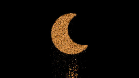 Symbol moon appears from crumbling sand. Then crumbles down. Alpha channel Premultiplied - Matted Animation