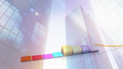 Digital composite of buildings against illustration of bar graphs Animation