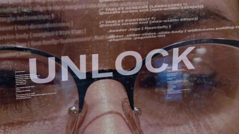 Unlock text on female software developer Footage