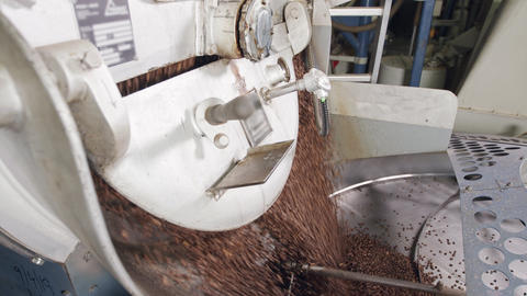 [alt video] coffee beans falling from a large roasting oven in a...
