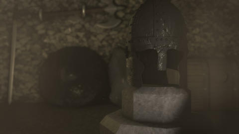 A Medieval Warrior Helmet Armor Shield and Sword Live Action
