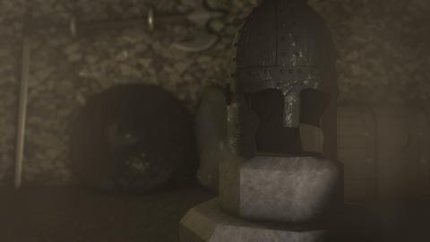A Medieval Warrior Helmet Armor Shield and Sword Footage