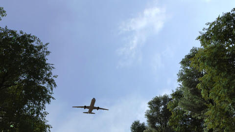Commercial airplane arriving to Medellin, Colombia. 3D animation Live Action